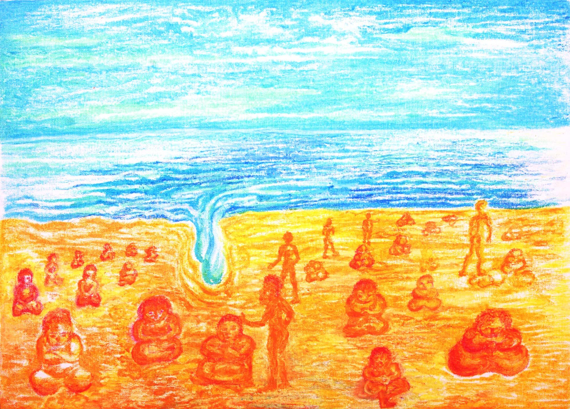uddhas am Strand, 1997, Ölpastell