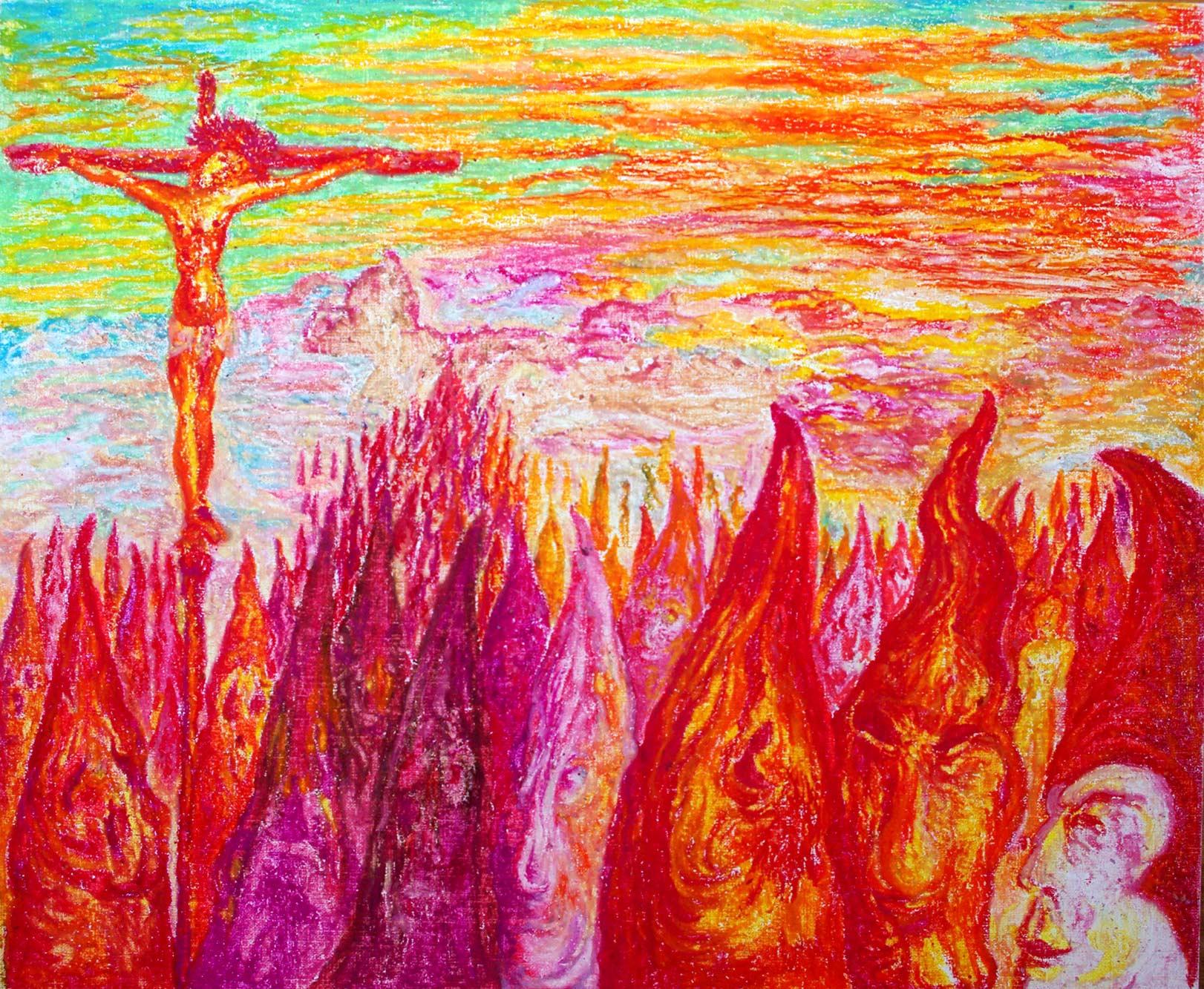 Prozession, 2000, Ölpastell