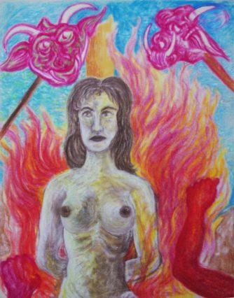 """Hexe"" am Brandpfahl, 1984, Ölpastell"