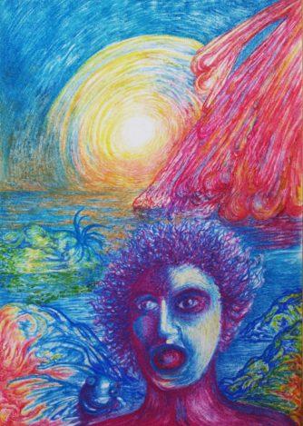 Der Feuerregen, 1985, Pastellkreide