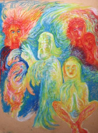 Maitreya-Buddha nach Rudolf Steiner, 1983, Ölpastell