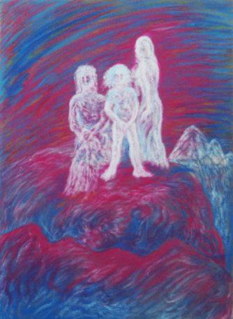 Die Heilige Familie auf einem Berg über Judäa, 1984, Ölpastell