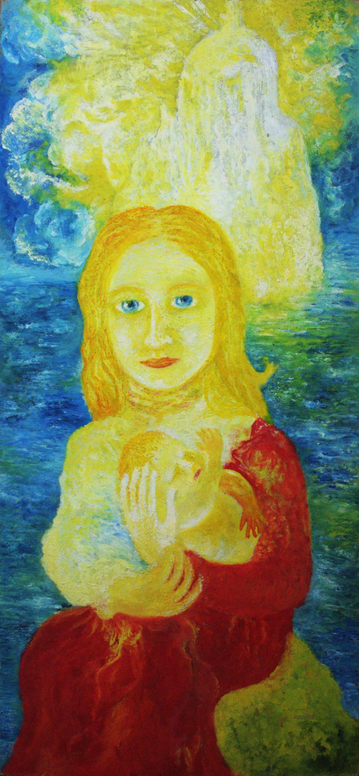 Maria mit Kind, 1980, Öl auf Pappe